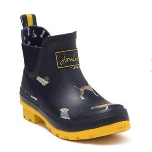 Joules Navy Dogs Wellibob Short Rainboot